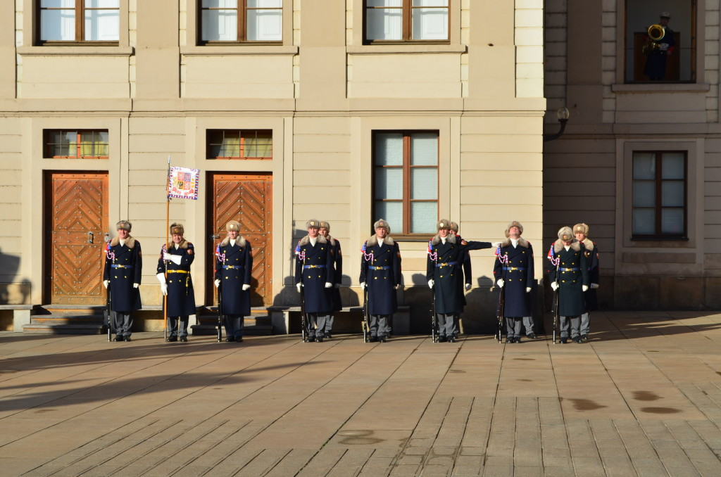 Witnessing the Changing of the Guard in Prague showed us that we needed a warmer coat!
